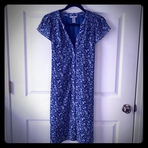 H&M Blue Floral Shift Dress For Spring Size 12